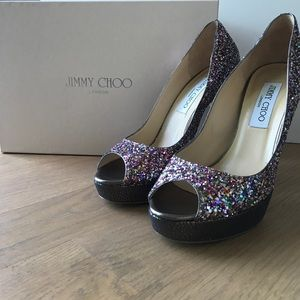 Coarse Glitter Multi Colour Jimmy Choo Shoes